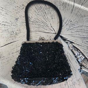 Black sequin&bead mini purse